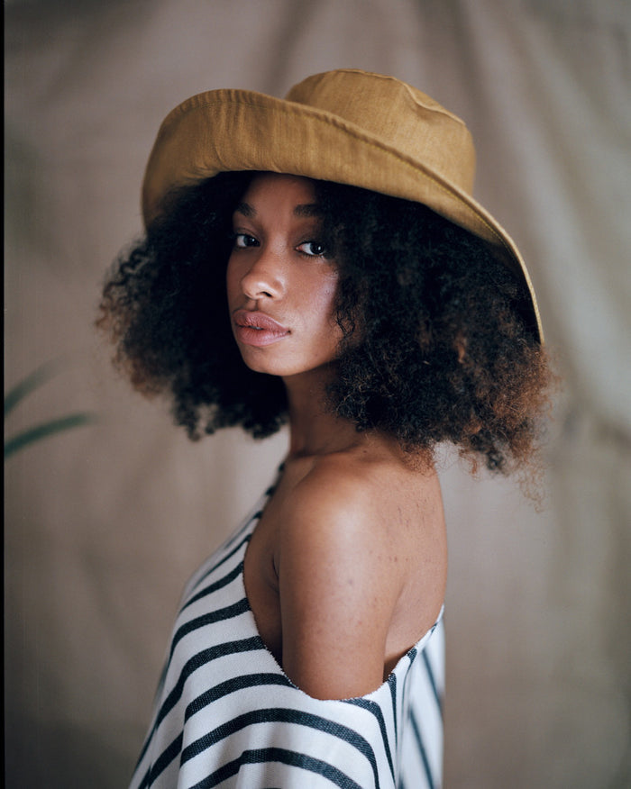 Denim Floppy Hat - Mustard