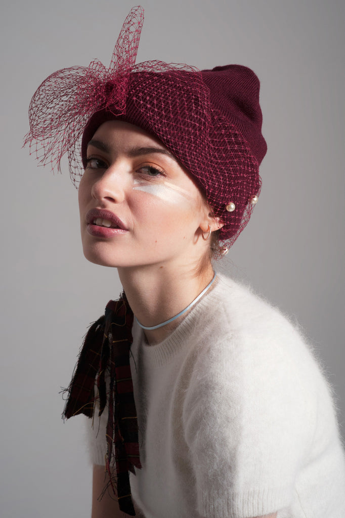 MESH BOW w/pearls BEANIE (OXBLOOD)
