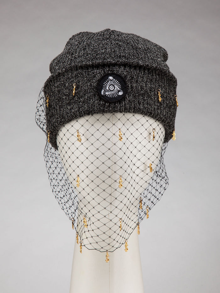 Dark Grey Beanie, w/ Mesh Veil (Dollar Signs)