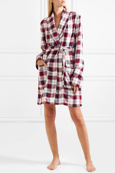 Robe Cream Red and Navy Check