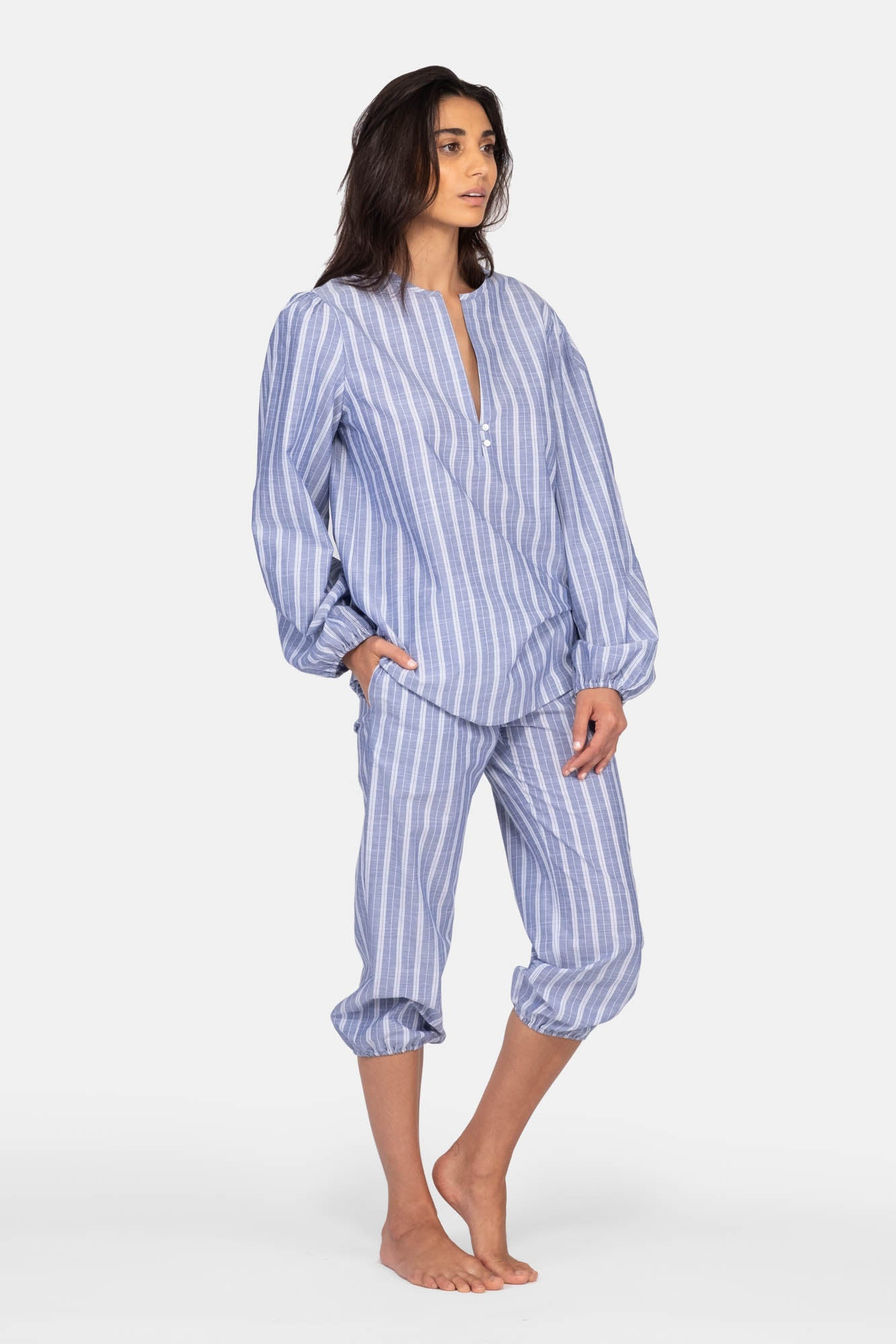 India Blue Ticking Stripe
