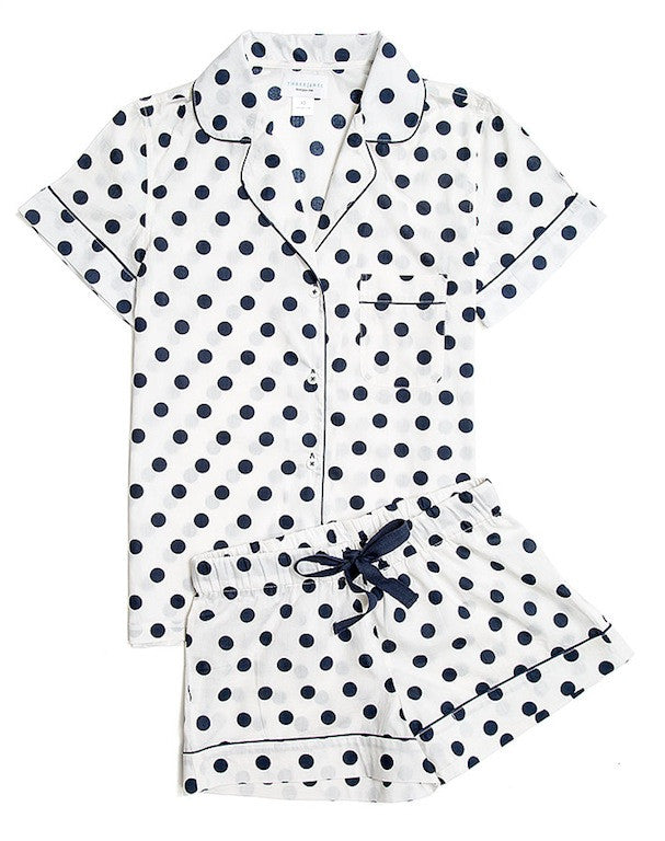 Eloise-White with Navy Dot