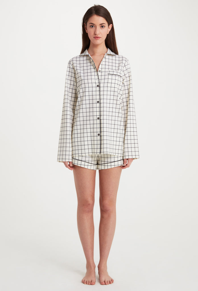 Josephine-Cream and Black Windowpane