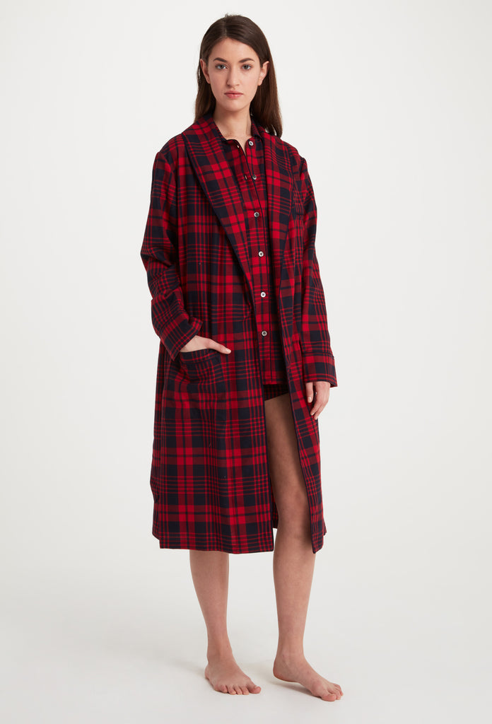 Red and Navy Plaid Flannel Robe