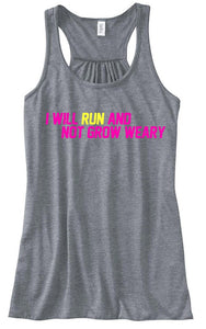 Run & Not Grow Weary - Women's Tank, Pink/Lemon