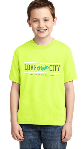 Vacationing By Serving - Youth Tee - Safety Green