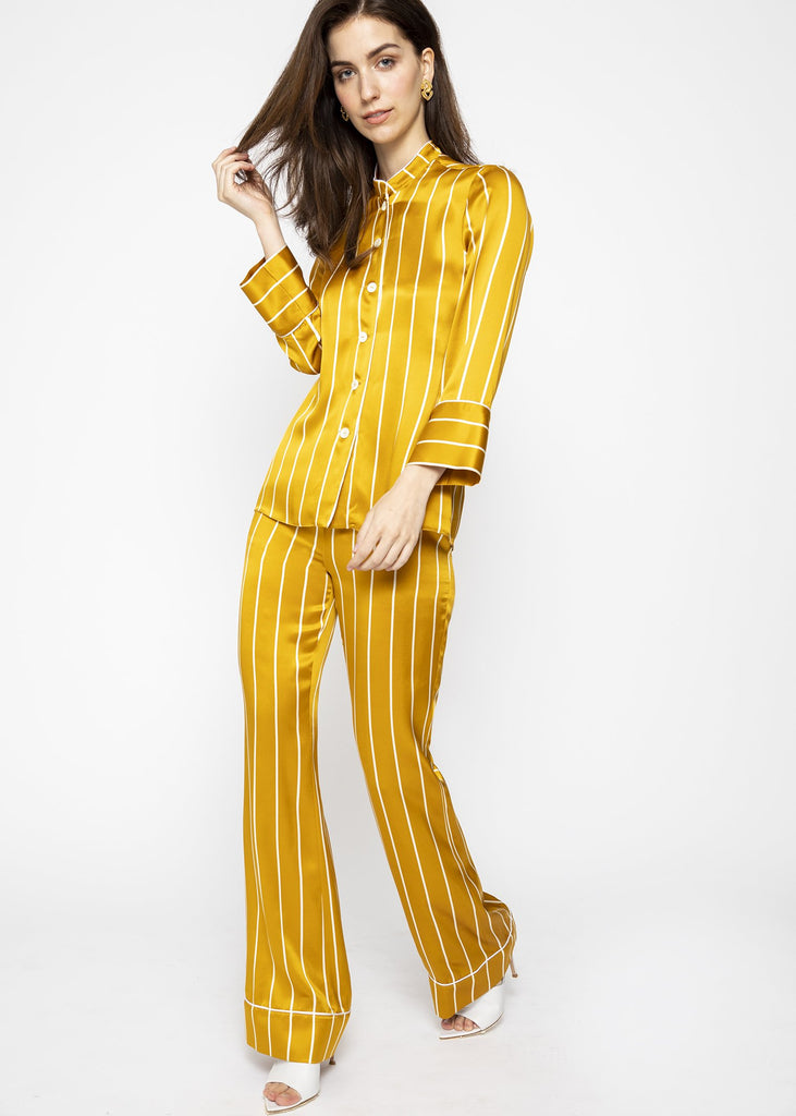 luxury silk golden flared trousers
