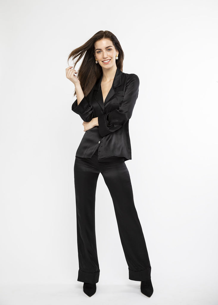 Black silk luxury loungewear
