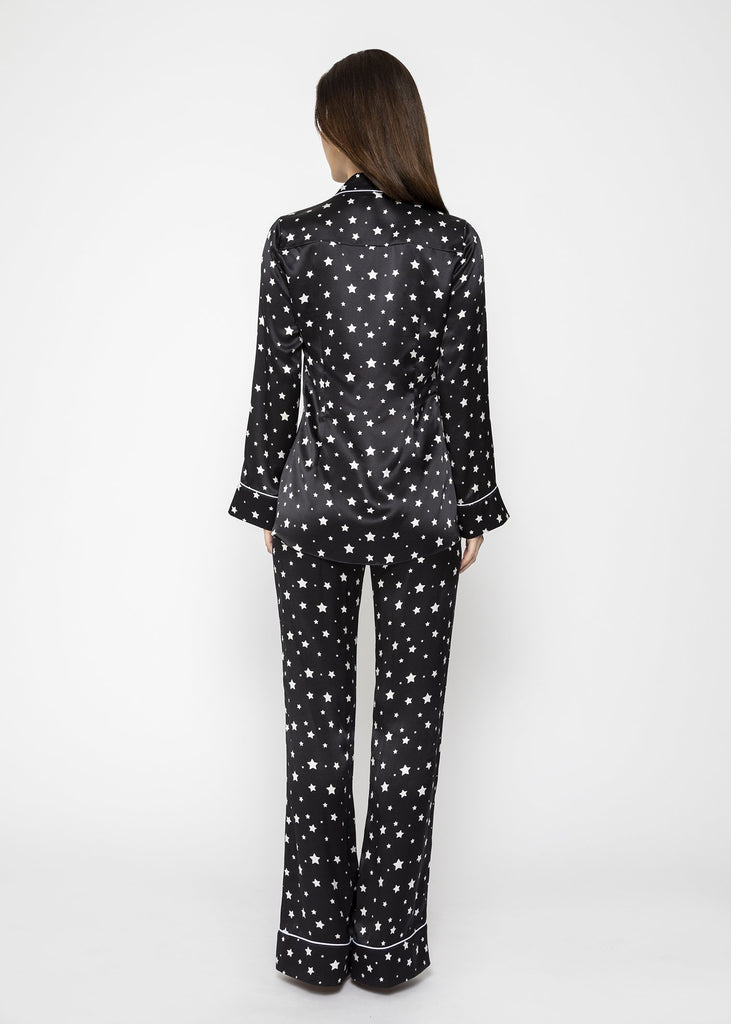 Star print black luxury silk trousers and blouse