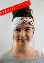Boho Lace Turban Headband - Red Rose (3 Color options)