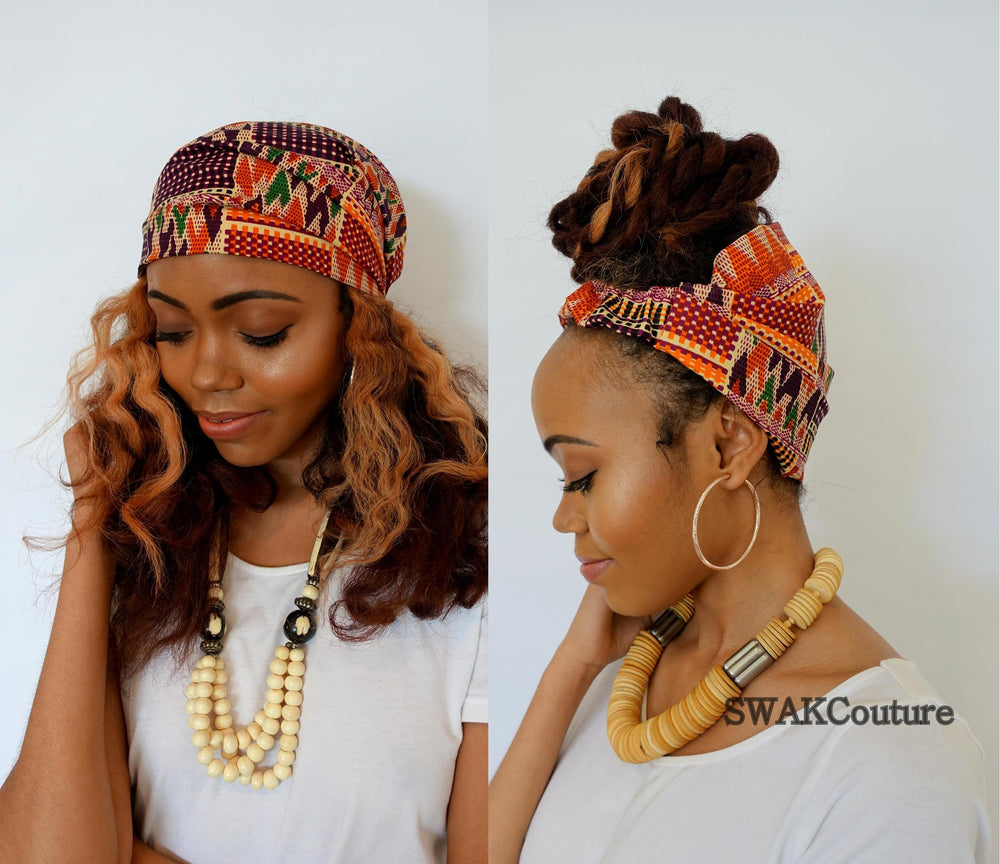 Satin Lined headband wrap for natural curly hair