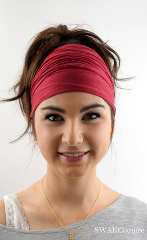 Yoga Head Wrap Cotton Jersey Wide Headband - Wine Red or Choose Your Color