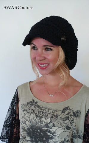 Uptown Slouchy Cap - Black or Choose your color