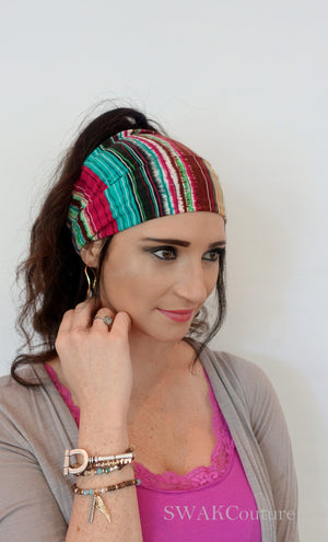 Bohemian Stripes Wide Headband Wrap