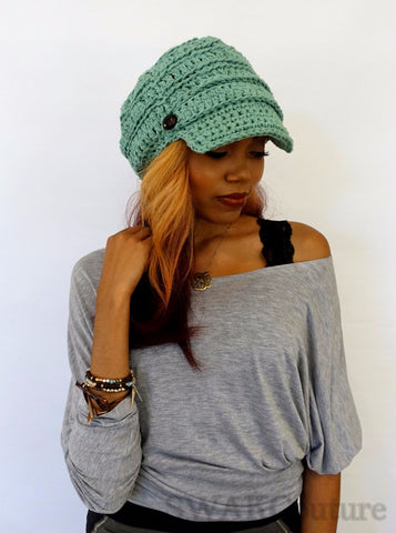 Uptown Slouchy Cap - Mint Green or Choose Color