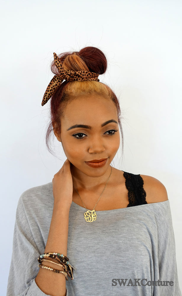 Bun Wire Headband - Cheetah or Choose Color