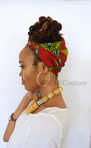ankara headband wrap turban wide head wrap african hair wrap red green black head wrap pineapple bun wrap protective styles for natural hair curly hairstyles african turban