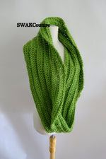 Ribbed Eternity Scarf 100% Wool - Green or Choose Your Color
