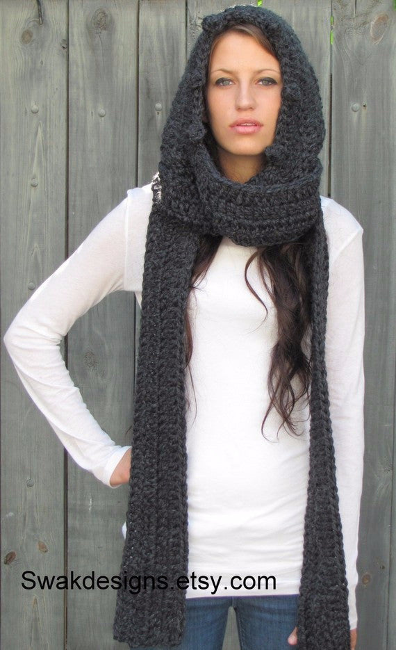 Hooded Scarf Chunky Scarf Handmade Scarf Wool Long Scarf Affordable Scarves