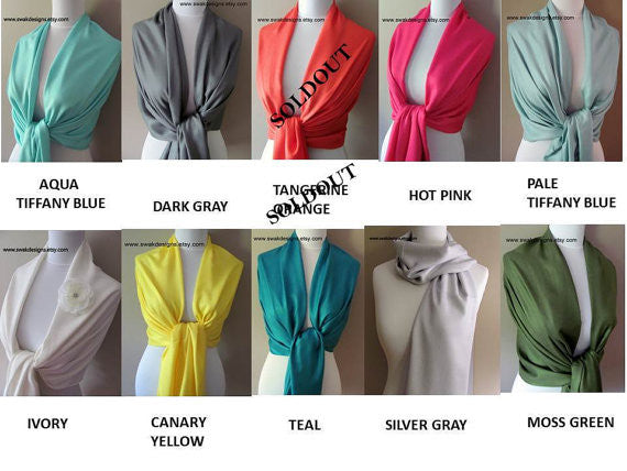 Black Pashmina Scarf High Quality Wedding Shawl - or CHOOSE Your Color
