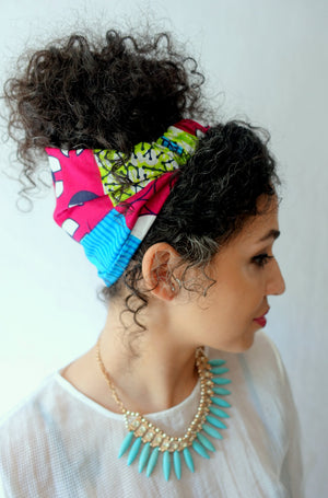 Satin Lined wide headband wrap for Natural curly hair Alopecia head wrap