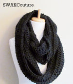 Ribbed Eternity Scarf 100% Wool - Black or Choose Your Color