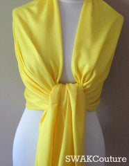 Canary Yellow Pashmina Scarf High Quality Wedding Shawl - or CHOOSE Your Color