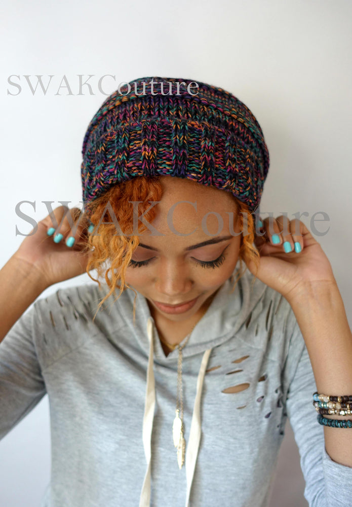 Pom Pom Satin Lined Slouchy Beanie - Confetti (or choose Color)