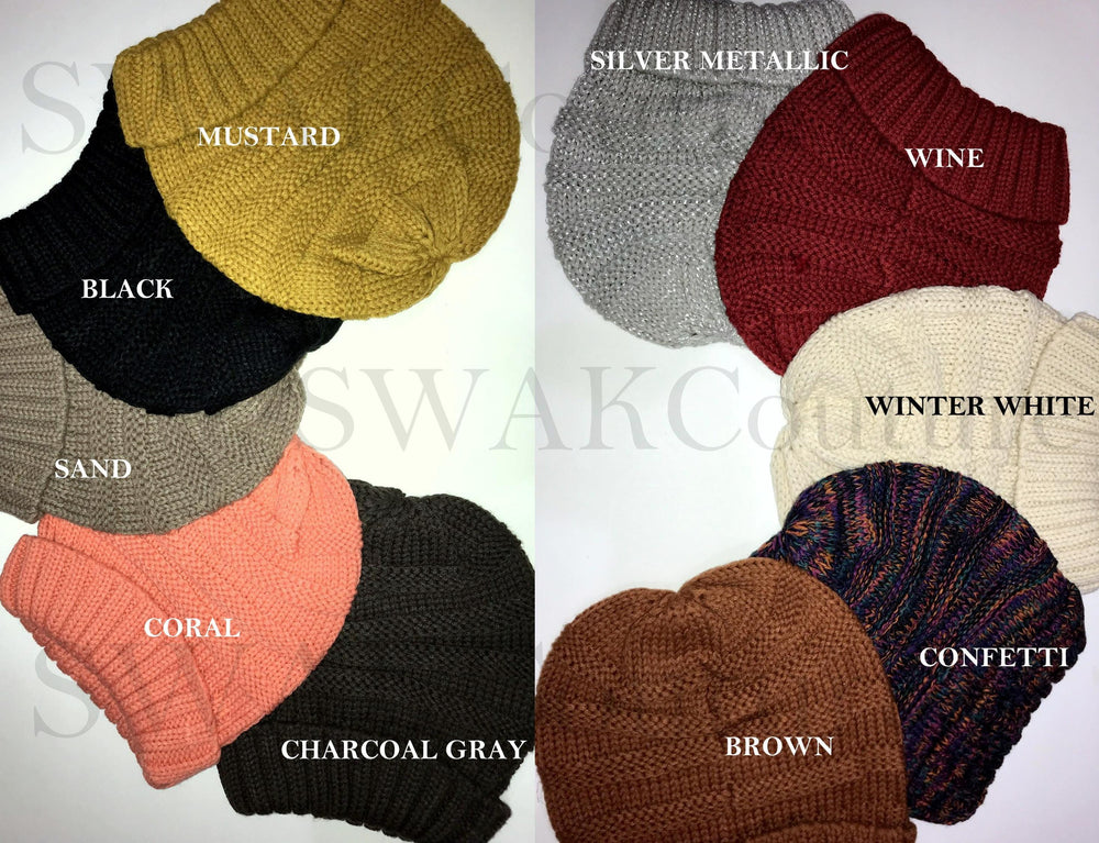 CARMEN Satin Lined Beanie - Brown (or 17 Color options)