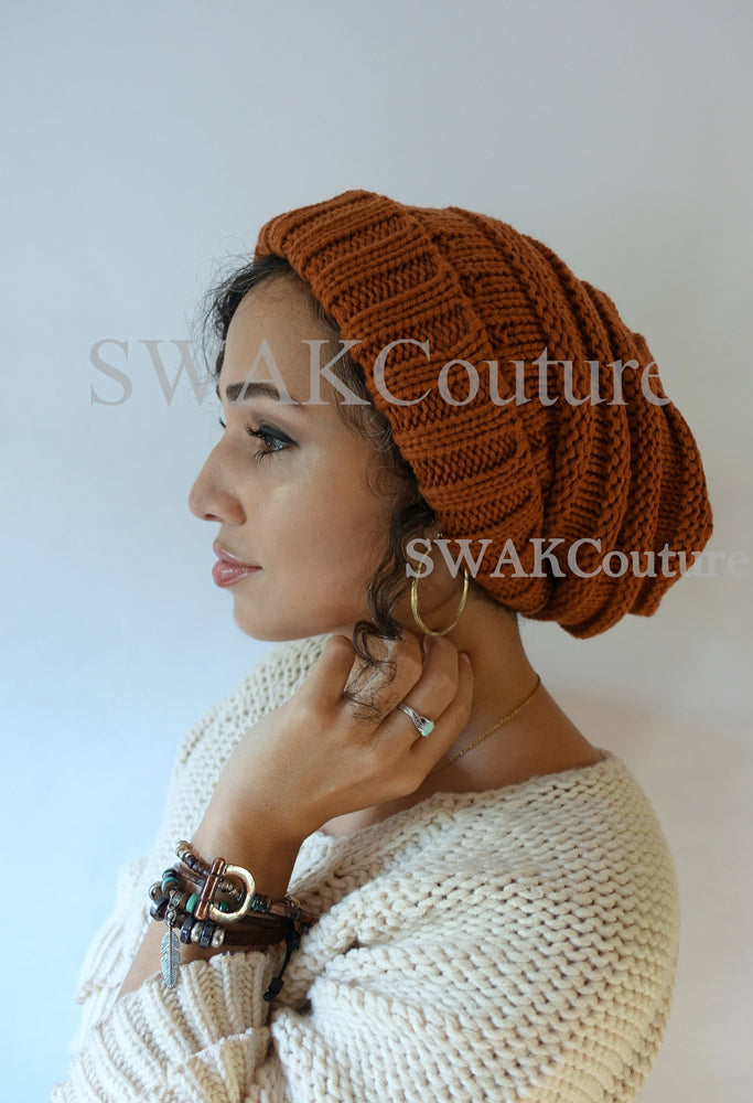 CARMEN Satin Lined Beanie - RUST (or 17 Color options)