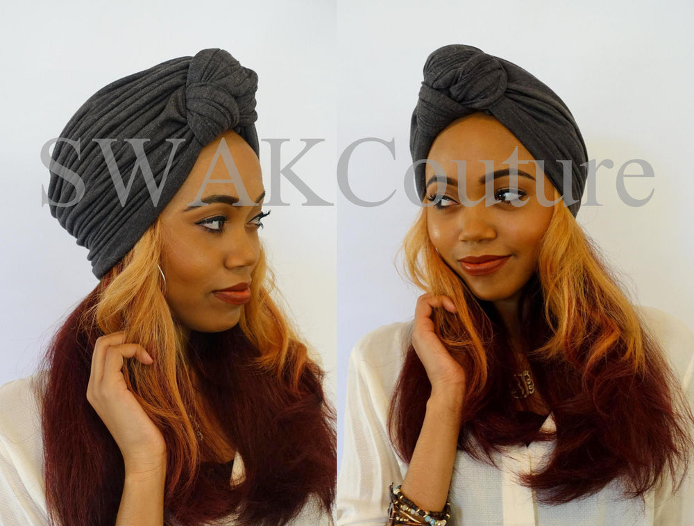 Knot Jersey Turban - Charcoal Gray