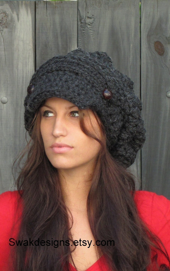 Slouchy Hat Handmade hat Beanie Crochet Hat Knit Cap Leather Hat ... ee026fac6b9