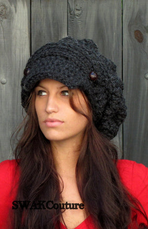 Slouchy Hat Handmade hat Beanie Crochet Hat Knit Cap Leather Hat affordable Hat Trendy Accessories Bohemian Caps Boho Hats