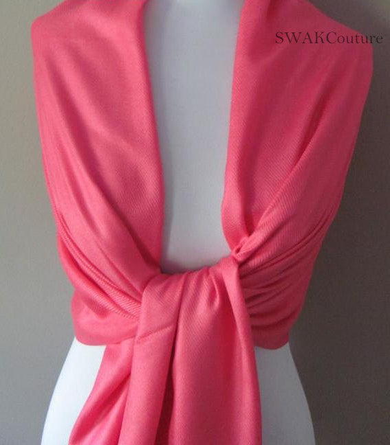 Coral Pink Wedding Pashmina Scarf Bridal Shawl - or CHOOSE Your Color
