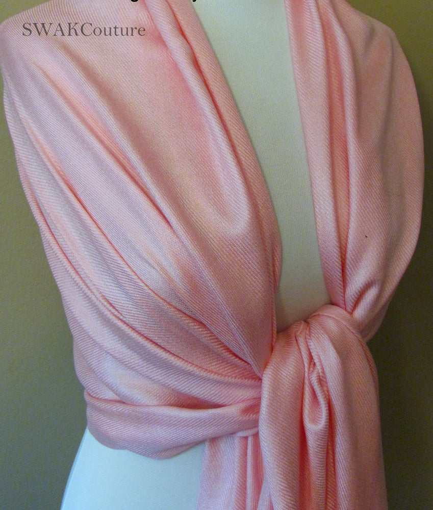 Cotton Candy Pink Pashmina Scarf Bridal Shawl - or CHOOSE Your Color