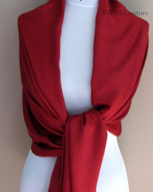 Crimson Red Wedding Pashmina Scarf Bridal Shawl - or CHOOSE Your Color