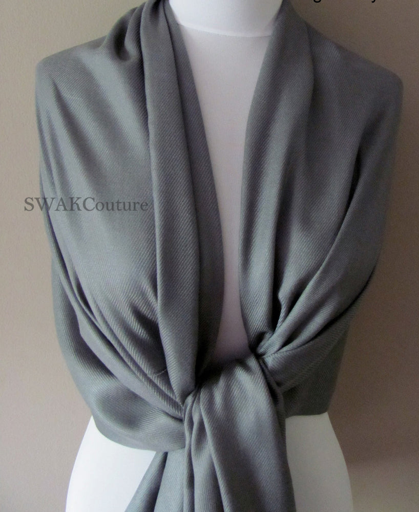 Dark Gray Wedding Pashmina Scarf Bridal Shawl - or CHOOSE Your Color