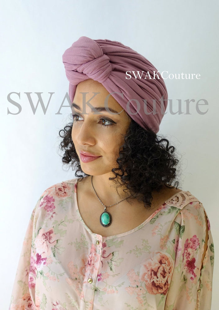 Knot Jersey Turban - Dusty Rose