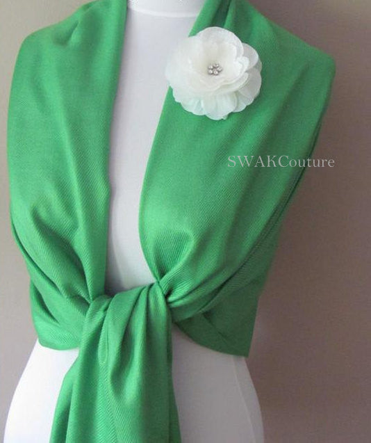 Emerald Green Wedding Pashmina Scarf Bridal Shawl - or CHOOSE Your Color