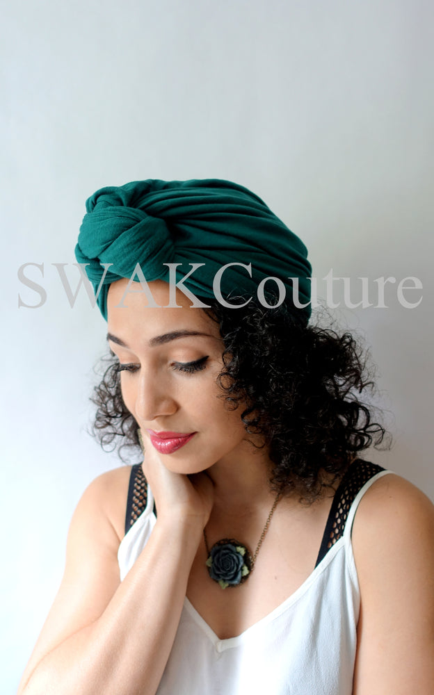 Knot Jersey Turban - Emerald Green