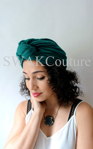 Knot Jersey Turban - Emerald Green or Choose Color