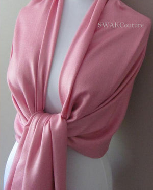 Frosted Pink Wedding Pashmina Scarf Bridal Shawl - or CHOOSE Your Color