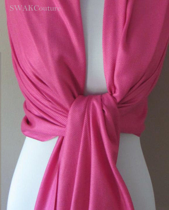 Fuchsia Pink Wedding Pashmina Scarf Bridal Shawl - or CHOOSE Your Color