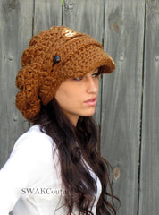 Two Leather Button Band Slouchy Newsboy Cap - Handmade, Hazelnut or Choose Color