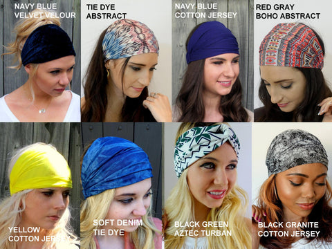 Wide Headband/Yoga Head Wrap -  Set of 2