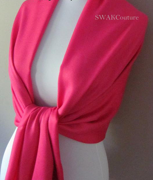 Hot Pink Wedding Pashmina Scarf Bridal Shawl - or CHOOSE Your Color