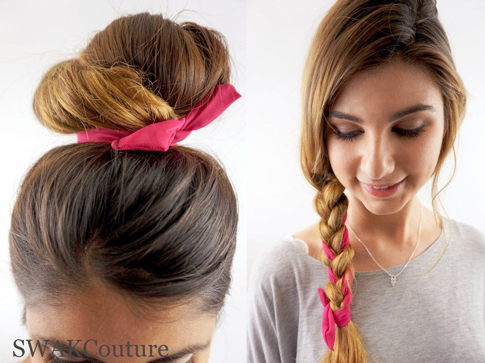 Bun Wire Wrap Headband - Hot Pink or Choose color