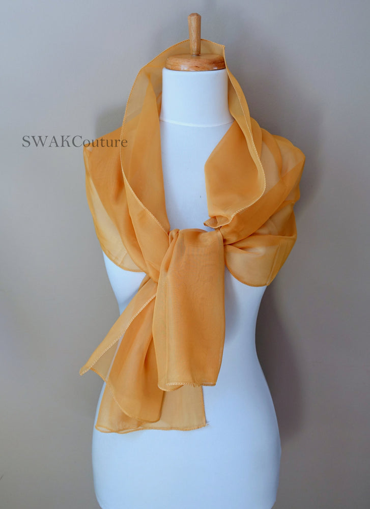 Chiffon Scarf Gold Scarf Sheer Wrap Wedding Scarf Bridal Wrap Shawl Chiffon Stole Shawl Special Occasion Wedding Shawl - or Choose Color