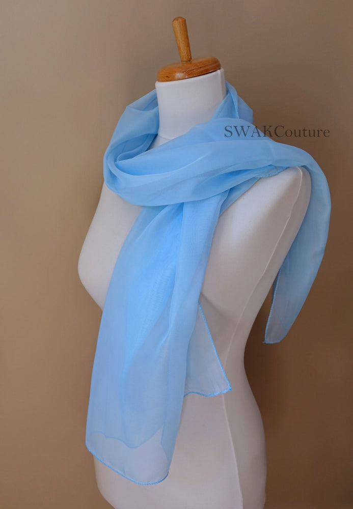 Chiffon Scarf Light Blue Scarf Sheer Wedding Scarf Bridal Wrap Shawl Chiffon Stole Shawl Special Occasion Wedding Shawl - or Choose Color