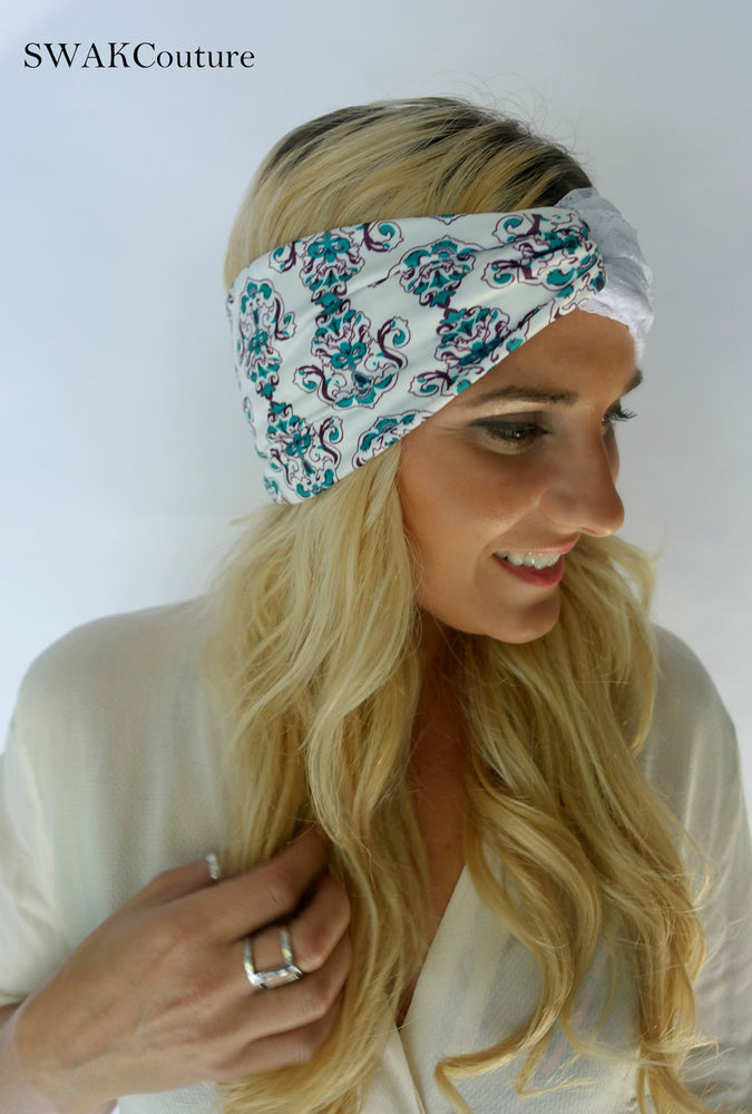 Boho Lace Turban Headband - Teal Rose (3 Color options)